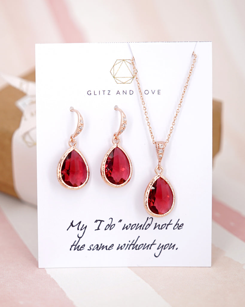 Rose Gold Ruby Teardrop Earrings and Necklace