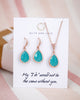Rose Gold Mint Teardrop Earrings and Necklace