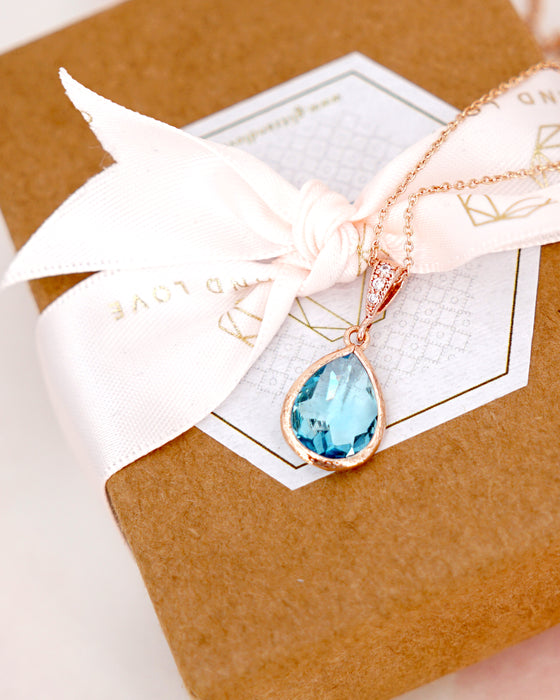Rose Gold Aquamarine Teardrop Earrings and Necklace
