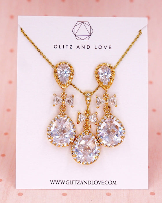 Gold Luxe Cubic Zirconia Jewelry Set