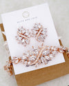 Rose Gold Art Deco Necklace , Bracelet and Earrings Jewelry Set | Exquisite Elegant Jewelry Bridal