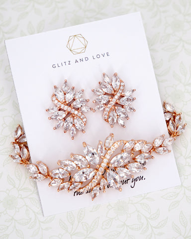 Marquise Cut CZ Earrings and Bracelet