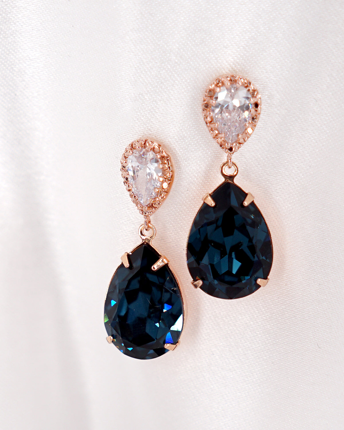 Rose Gold & Blue Crystal Earrings | Wedding Bride Bridesmaids Jewelry