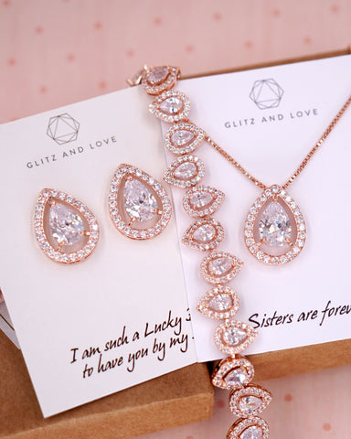 Rose Gold CZ Teardrop Earrings and Bracelet