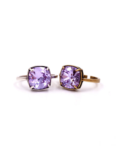 Violet Purple Crystal Cocktail Ring