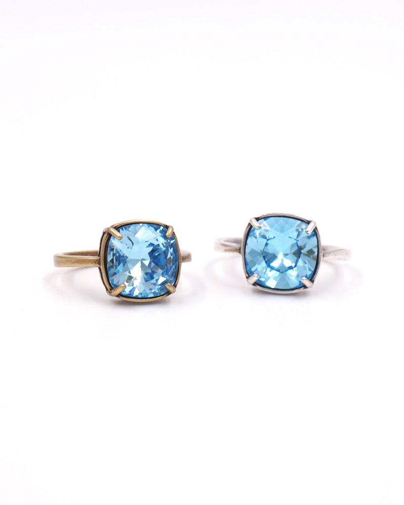 Aquamarine Blue Crystal Cocktail Ring