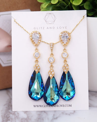 Bermuda Blue Crystal Gold Earrings