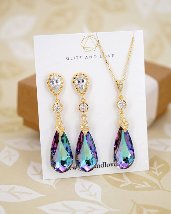 Vitrail Light Purple Crystal Gold Earrings & Necklace