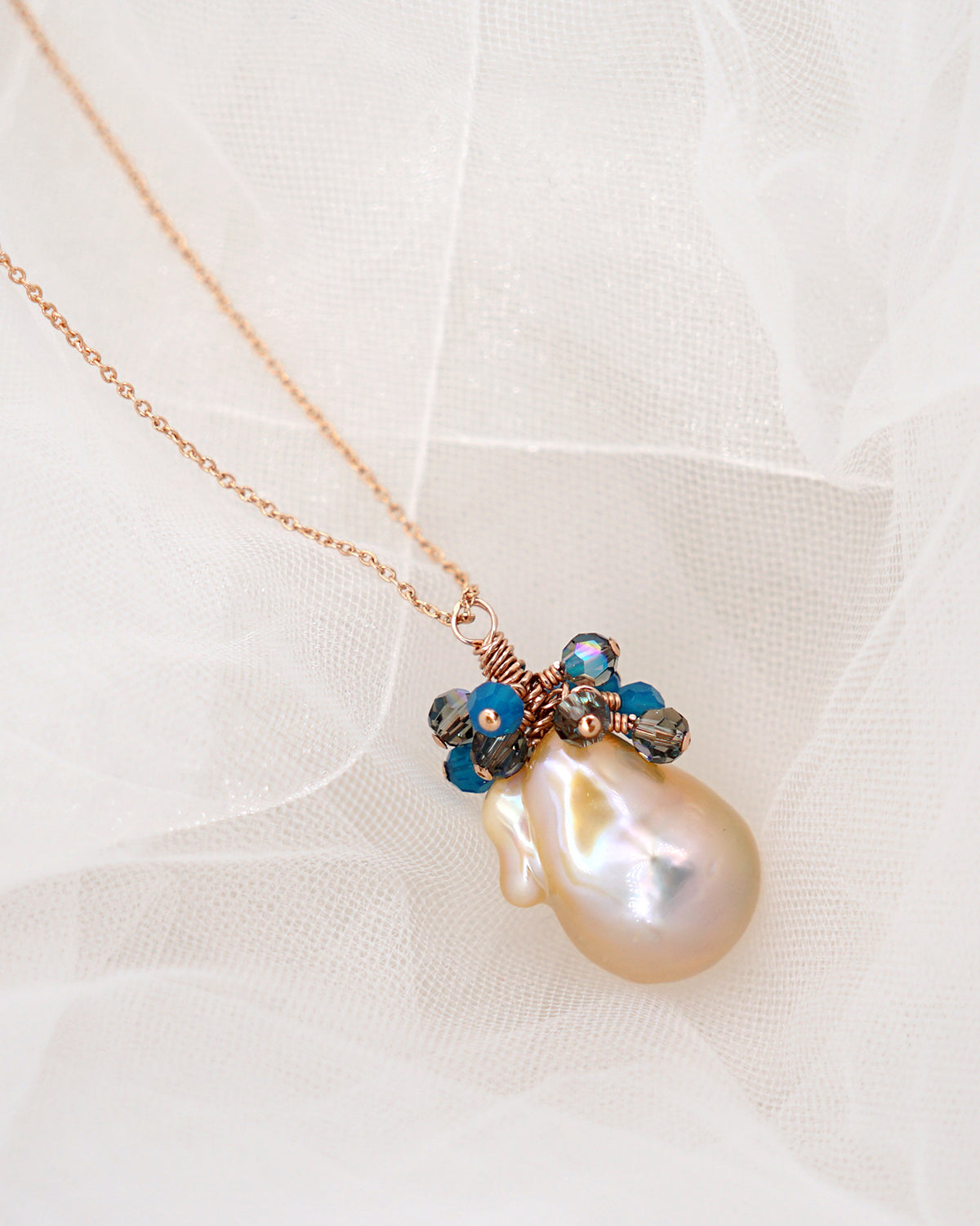 AAA Freshwater Baroque Pearl Necklace | Rose gold filled | Ocean