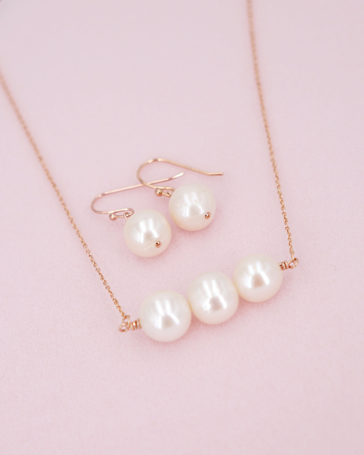 Freshwater White Pearl Rose Gold Earrings & Necklace | Timeless Gift