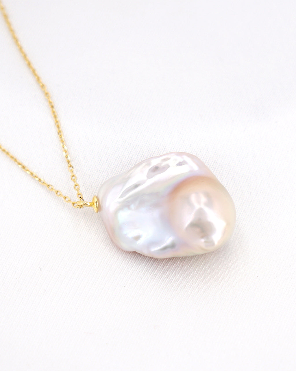 White Baroque Pearl Necklace | Rainbow Lustrous Freshwater Flameball Jewelry