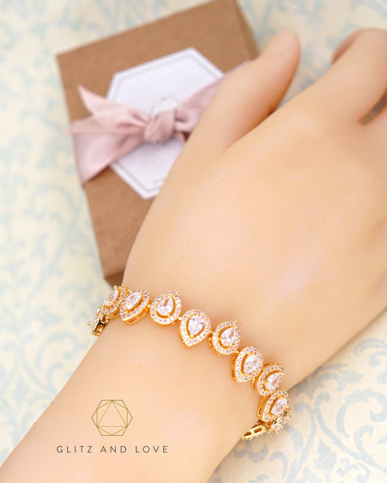 Gold Teardrop Jewelry | Bridal Bridesmaid Earrings Necklace Bracelet