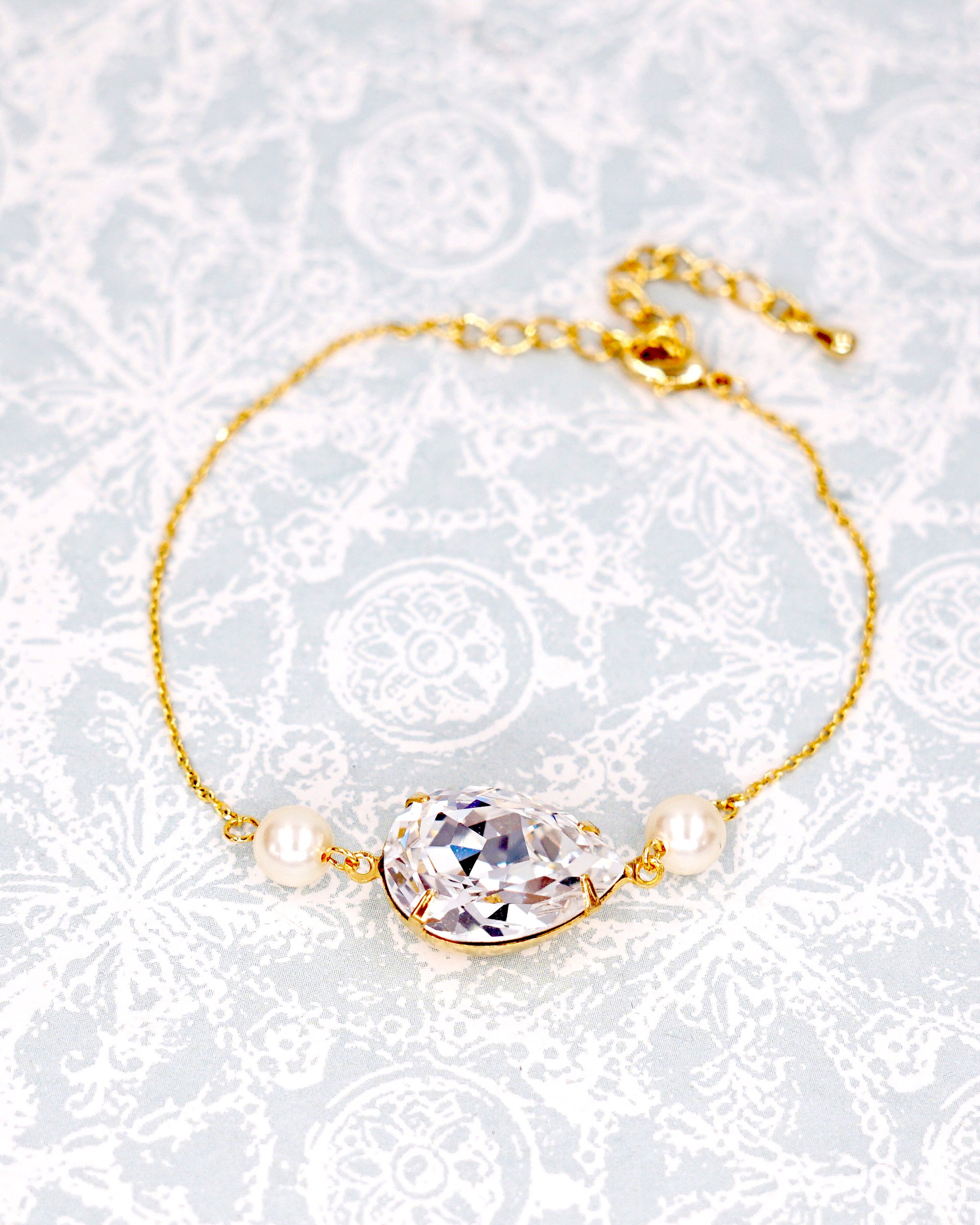 Swarovski Crystal Teardrop Gold Earrings, Necklace and Bracelet | Bridal Bridesmaid Jewelry