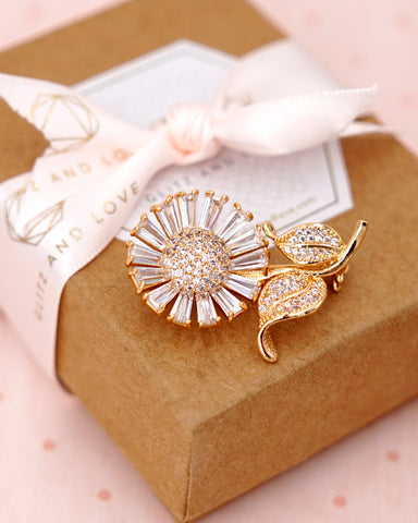 Gold Sunflower Brooch