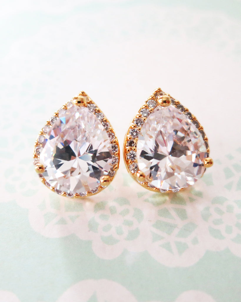 Gold Luxe Teardrop Ear Studs