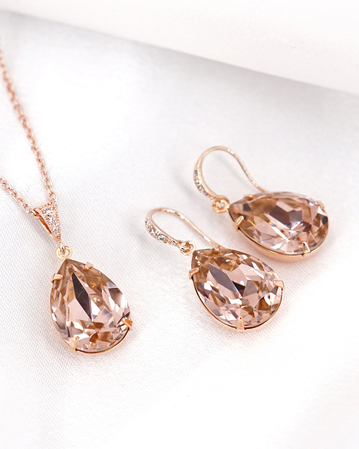 Rose Gold Crystal Earrings & Necklace | Wedding Bride Bridesmaids Gift