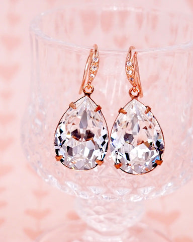 Rose Gold Crystal Teardrop Earrings