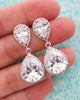 Silver Luxe Cubic Zirconia Teardrop Earrings