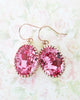 Rose Peach Oval Crystal Earrings