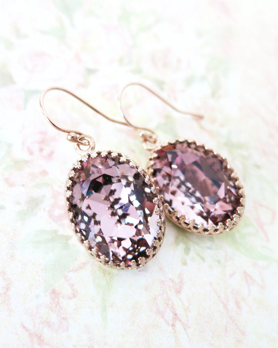 Dusty Pink Crystal Earrings | Rustic Rose Gold Everyday Chic Jewelry