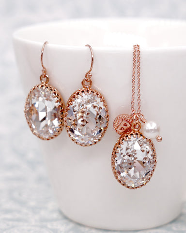 Rose Gold Oval Crystal Jewelry Set