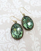 Erinite Green Oval Crystal Earrings
