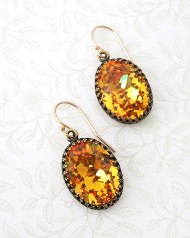 Sunflower Oval Crystal Earrings