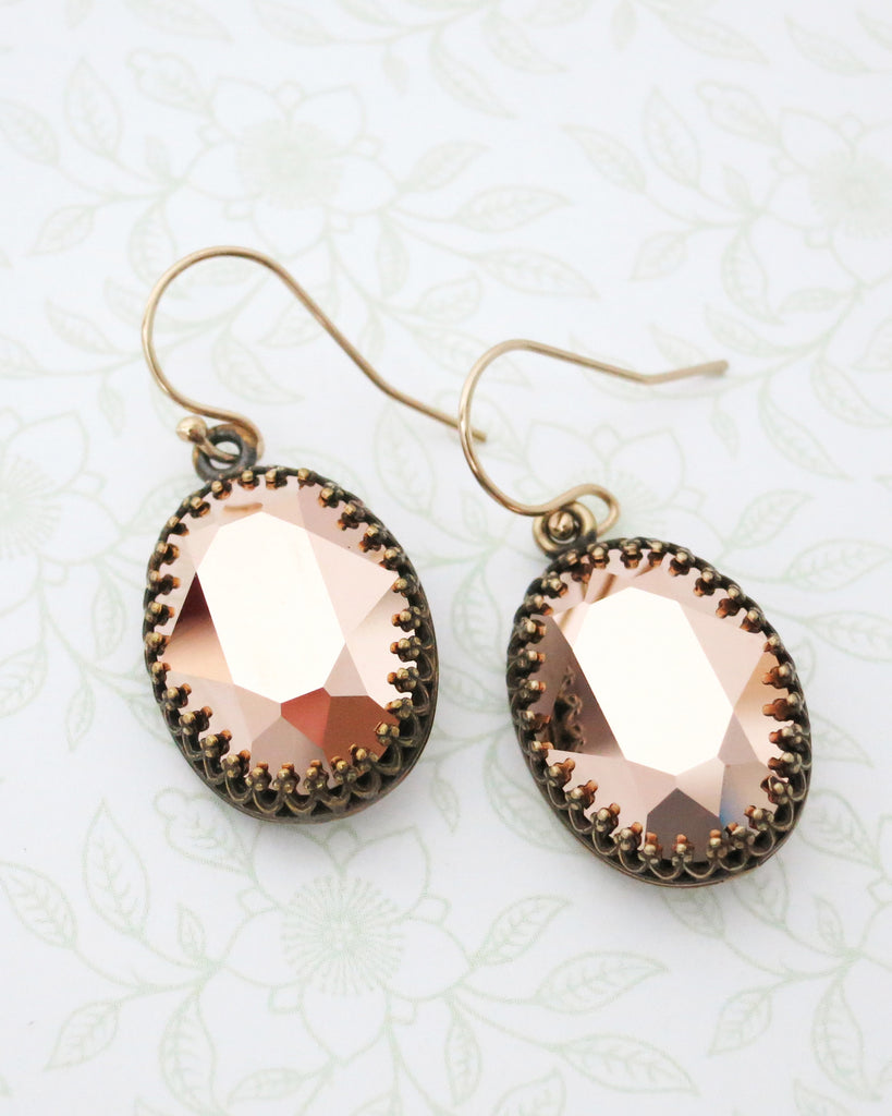 Rose Gold Oval Crystal Earrings
