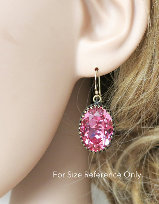 Rose Peach Oval Crystal Earrings | Colorful Simple Everyday Jewelry