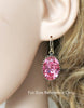Antique Pink Oval Crystal Earrings