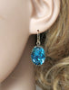 Indicolite Blue Oval Crystal Earrings