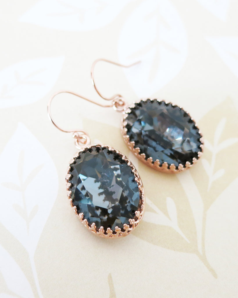 Silver Night Oval Crystal Earrings