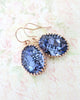 Tanzanite Oval Crystal Earrings