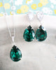 Emerald Crystal Teardrop Jewelry Set