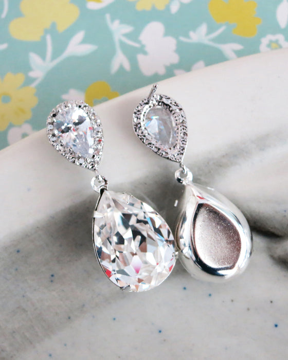 Silver Crystal Earrings, Necklace and Bracelet | Wedding Bride Bridesmaids Bridal Jewelry