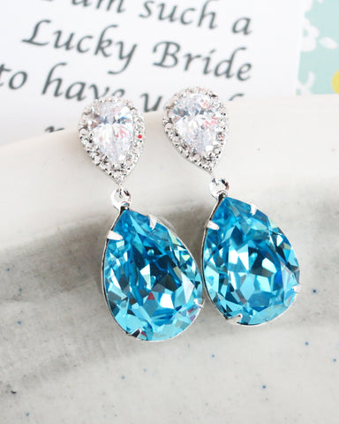 Aquamarine Crystal Teardrop Earrings