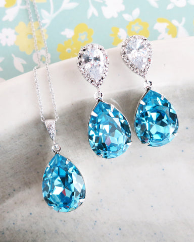 Aquamarine Crystal Teardrop Jewelry Set
