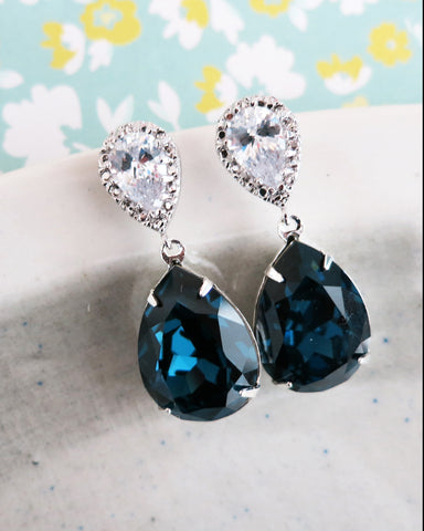 Montana Blue Crystal Teardrop Earrings