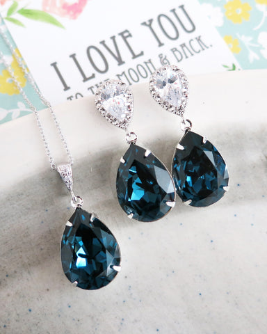Montana Blue Crystal Teardrop Jewelry Set