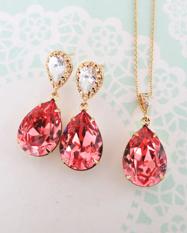 Rose Peach Crystal Teardrop Jewelry Set