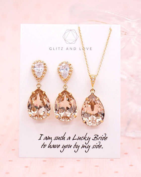 Gold Crystal Earrings & Necklace| Champagne Bridal Bridesmaids Jewelry