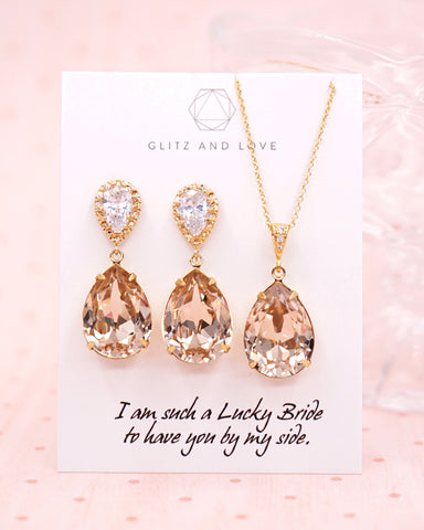 Light Silk Crystal Teardrop Jewelry Set