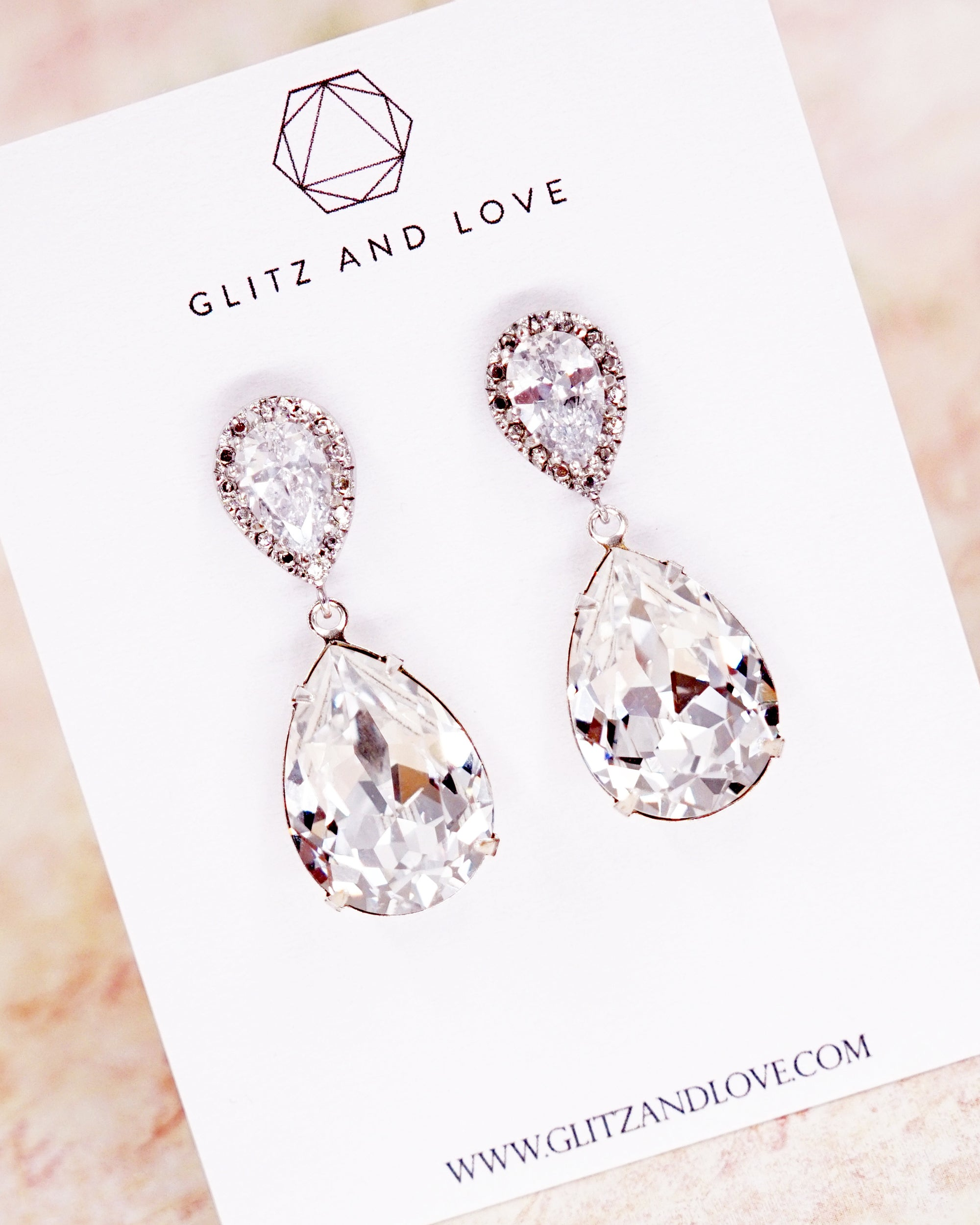 Crystal Teardrop Earrings | Timeless Classy Bridal Bridesmaids Jewelry