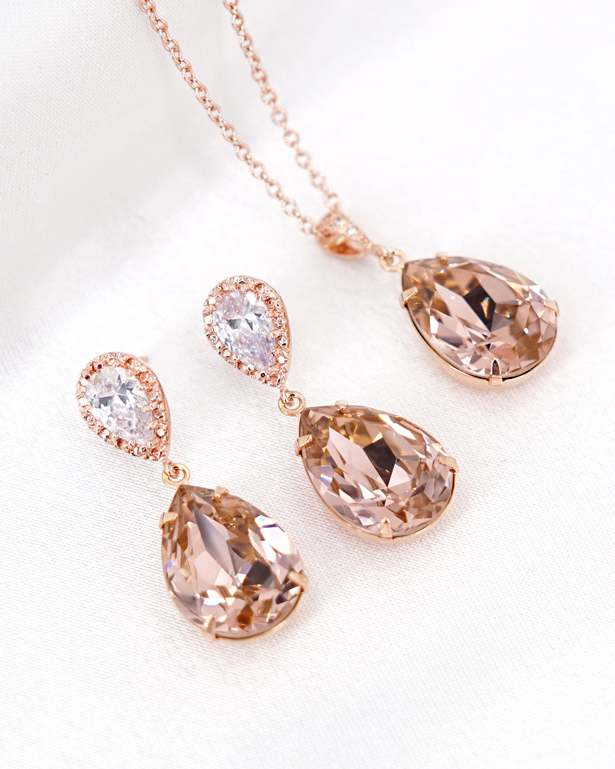 Rose Gold Vintage Rose Crystal Earrings and Necklace | Wedding Bride Bridesmaids Jewelry Gift