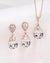 Rose Gold Crystal Earrings and Necklace | Wedding Bride Bridesmaids Jewelry Gift