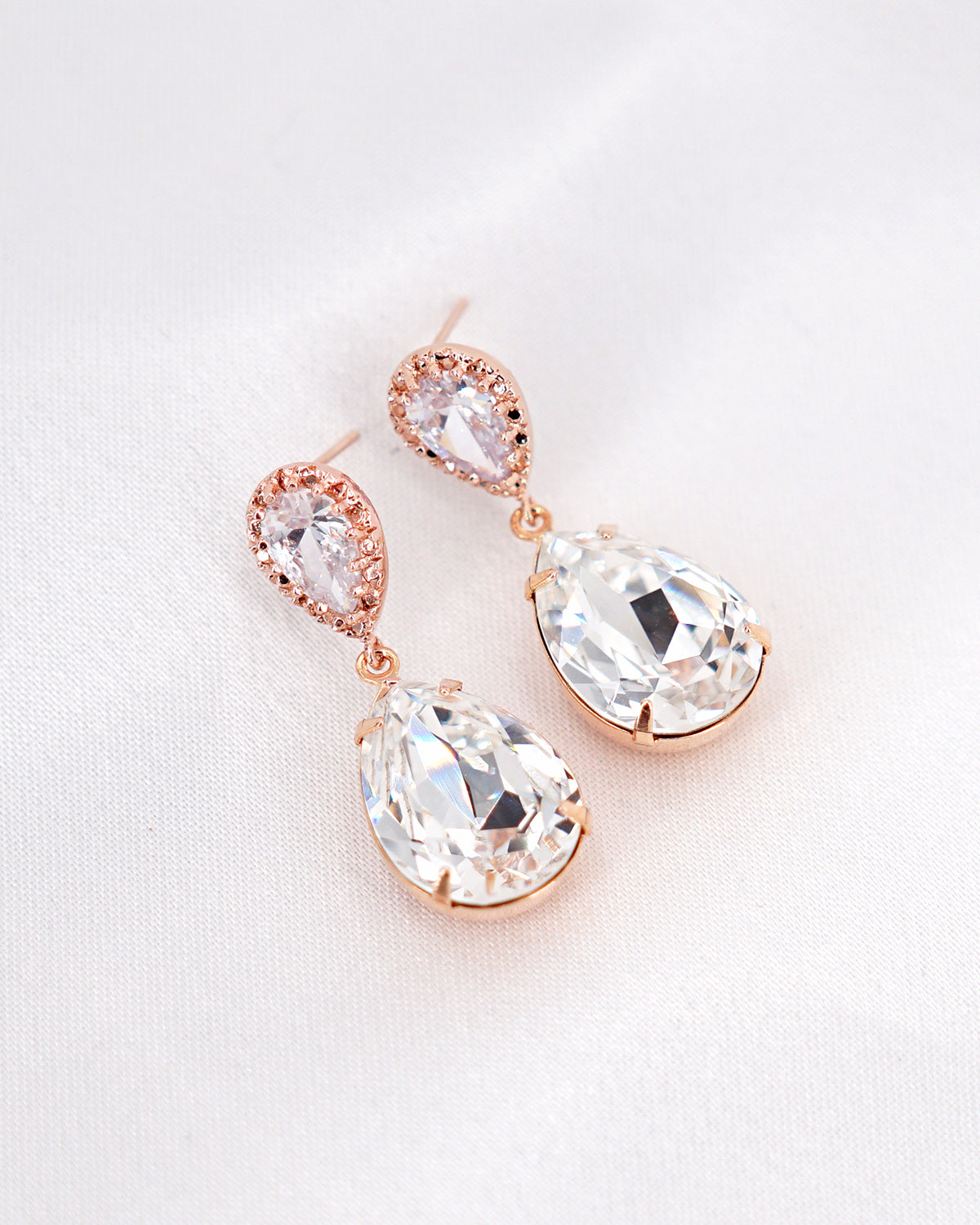 Rose Gold Crystal Earrings | Wedding Bride Bridesmaids Jewelry Gift