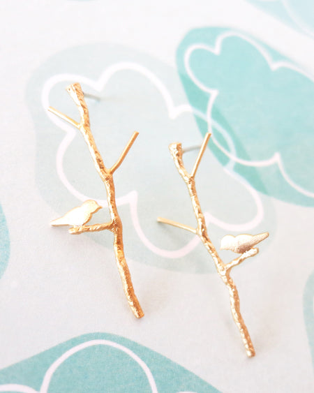 Love Birdie on Twig Long earrings | Simple Minimalistic Everyday Gift
