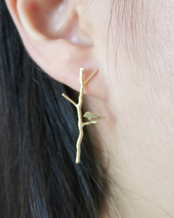 Love Birdie on Twig Long earrings