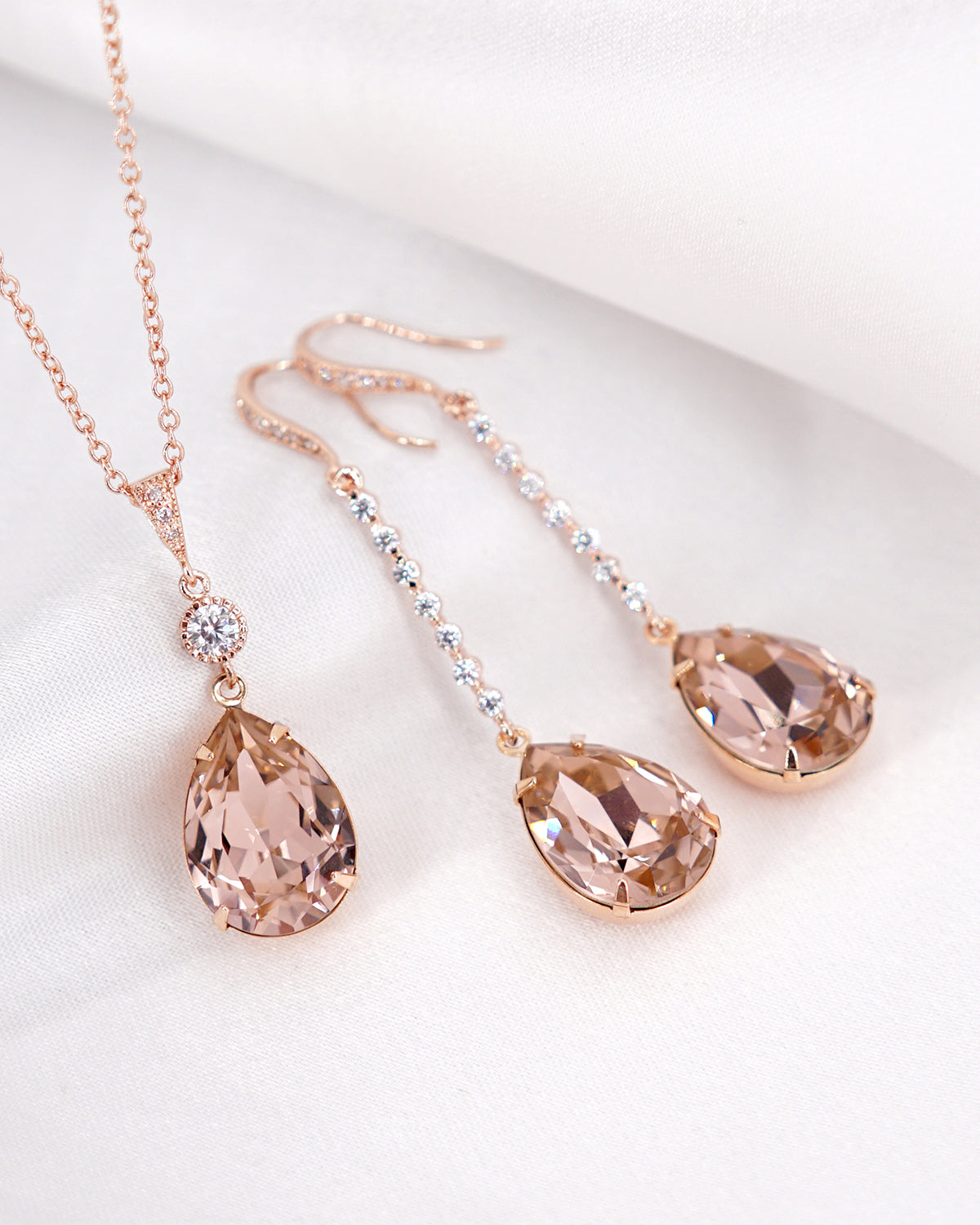 Rose Gold Pink Crystal Long Earrings and Necklace | Minimalist Bridal Wedding Brides