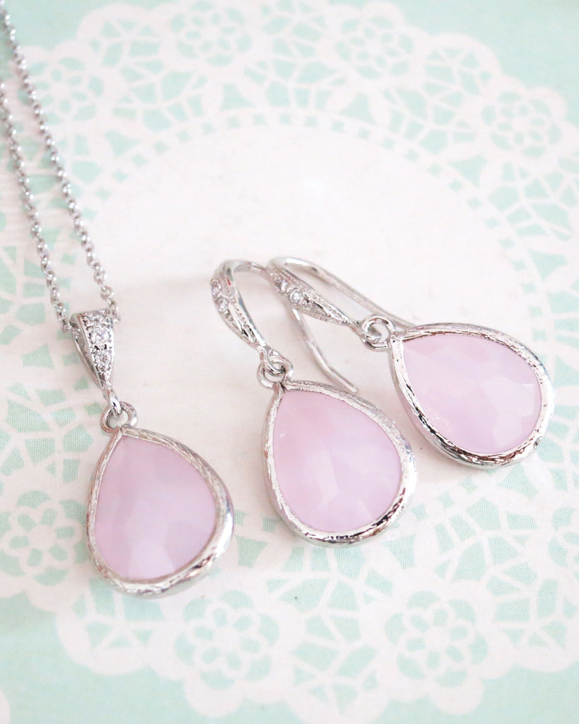 Ice Pink Teardrop Jewelry Set